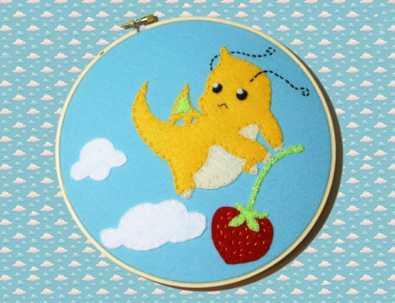 dragonite embroidery hoop by millieonherworld