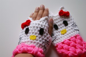 Crochet Hello Kitty Fingerless Gloves