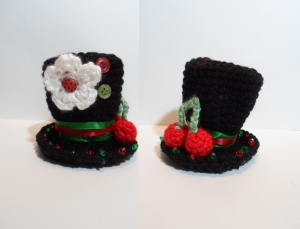 black cherry crochet top hat