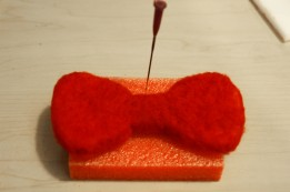 red felted bow