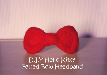 hello kitty bow felted headband